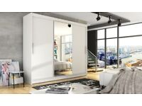 Massive 250 cm Widht - Brand New Berlin Fully Mirror Sliding Door Wardrobe with Rails And Shelves