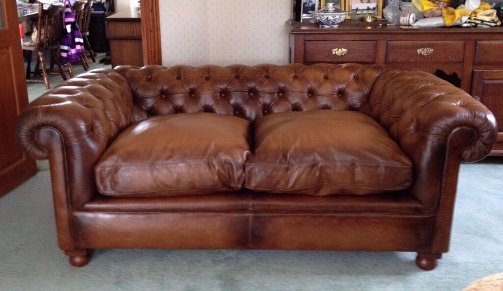 Laura Ashley Rochester Distressed Tan Brown Leather Chesterfield Sofa Rrp 2400
