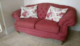3 seater rose pink embroidered sofa