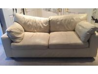 3 seater and 2 seater cream leather sofas from Next. £20