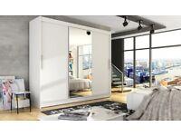 🌺🌺**!NEW 250cm WIDE MONACO 3 DOOR SLIDING WARDROBE WITH FULL MIRROR IN BLACK WHITE WALNUT WENGE
