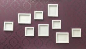 White metal frames
