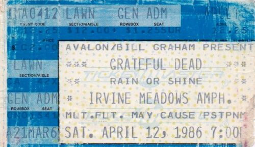 GRATEFUL DEAD TICKET STUB   04-12-1986   IRVINE MEADOWS AMPHITEATRE