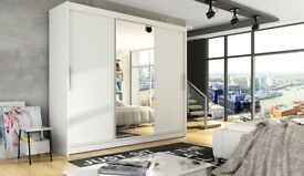 🌷💚🌷PAYMENT ON DELIVERY🌷💚🌷BRAND NEW BERLIN SLIDING MIRROR WARDROBE IN WHITE AND BLACK