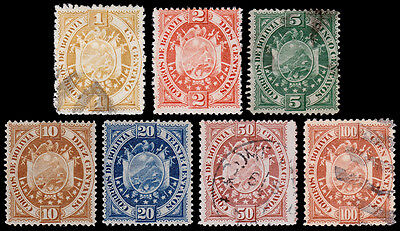 Bolivia Scott 40-46 (1894 ) Used/Mint H F-VF Complete Set, CV $75.00