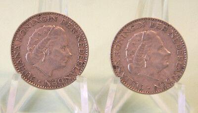 NIEDERLANDE: 2 x 1 Gulden (1956 + 1957): KÖNIGIN JULIANA, Silber, ss, C28