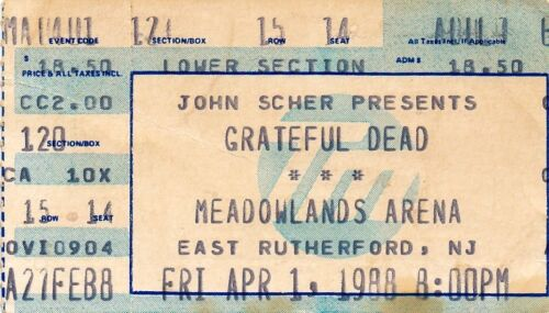 GRATEFUL DEAD TICKET STUB   04-01-1988  MEADOWLANDS ARENA