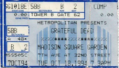 GRATEFUL DEAD TICKET STUB   10-18-1994  MADISON SQUARE GARDEN