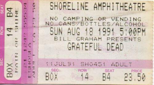 GRATEFUL DEAD TICKET STUB   08-18-1991  SHORELINE AMPHITHEATRE
