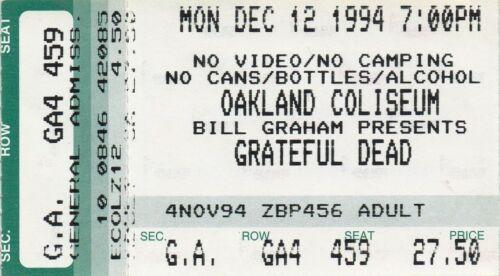 GRATEFUL DEAD TICKET STUB   12-12-1994  OAKLAND COLISEUM