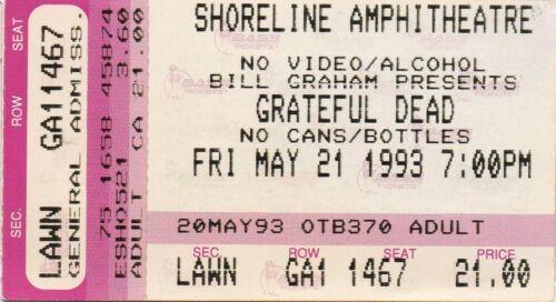 GRATEFUL DEAD TICKET STUB   05-21-1993  SHORELINE AMPHITHEATRE