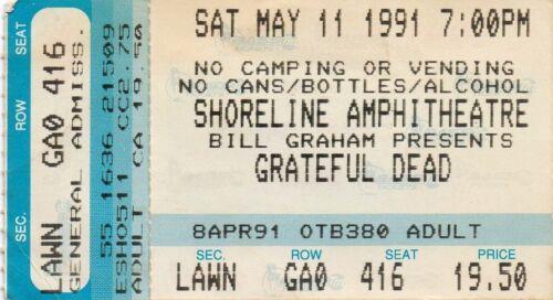 GRATEFUL DEAD TICKET STUB   05-11-1991  SHORELINE AMPHITHEATRE
