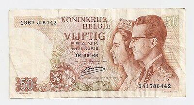 Royal Bank of Belgium 50 Frank Bank Note ~ 1966