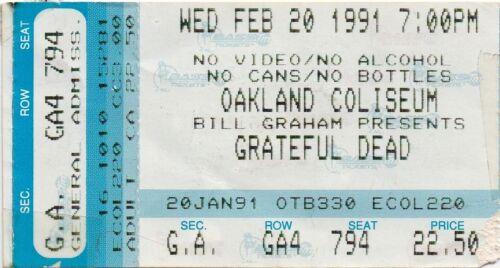 GRATEFUL DEAD TICKET STUB  02-20-1991  OAKLAND COLISEUM