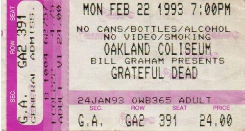 GRATEFUL DEAD TICKET STUB  02-22-1993  OAKLAND COLISEUM