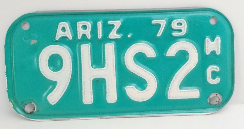 1979 Arizona Motorcycle License Plate Vintage Green and White Sign