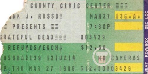 GRATEFUL DEAD TICKET STUB   03-27-1986   CUMBERLAND COUNTY CIVIC CENTER