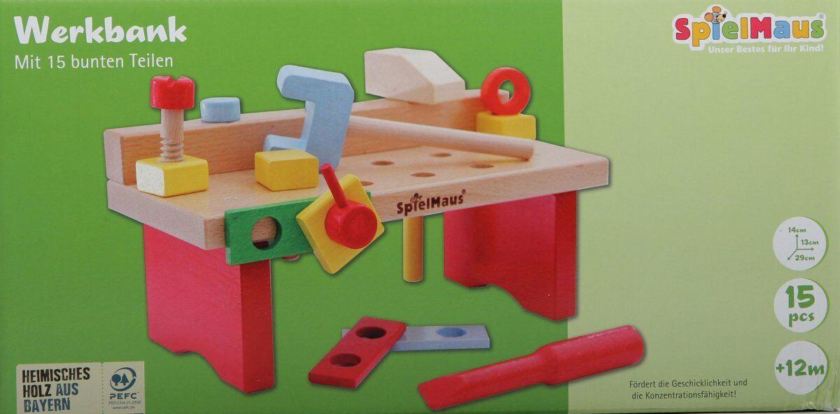 SpielMaus Holz Werkbank für Kinder ab 12Monaten mit 15 bunten Teilen