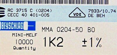 1000pcs Resistor 1.2k Ohm Minimelf 50ppm 1 0.4w Mma020450bo 1k2 Beyschlag