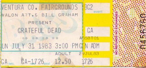 GRATEFUL DEAD TICKET STUB  07-31-1983 VENTURA COUNTY FAIRGROUNDS