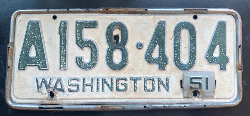Washington 1950-53 King County Passenger Vehicle License Plate Single W/ Frame!