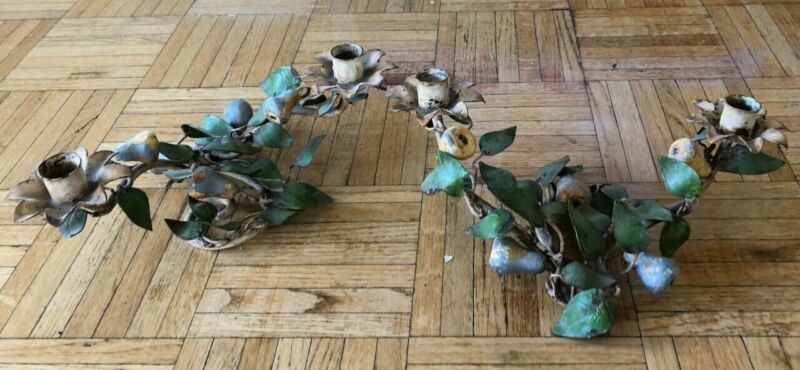 2 Vintage Italian Toleware Metal Candle Holders Pears Vines Enameled Tole AS IS