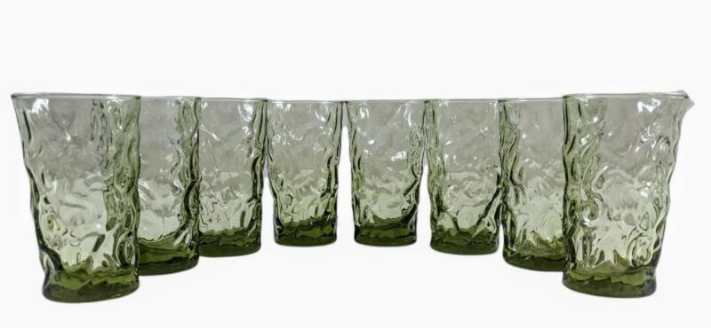 Set of 8 Vintage  BRYCE ~ EL RANCHO DUSK ~ Smokey Green Juice Glasses Crinkle
