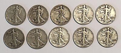 TEN 90% Junk Silver Liberty Walking Half Dollars $5 Face Value Circulated