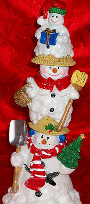 3 Silvestri Snowman Family Christmas Decoration Figurine Stackable Candle Stick