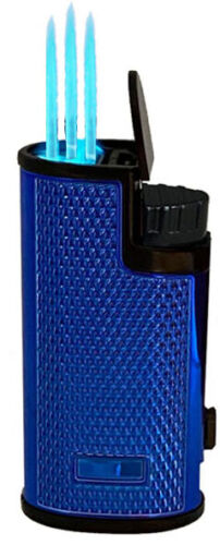 Shinny Triple Jet Torch Lighter Adjustable Windproof Butane Refillable Puncher L