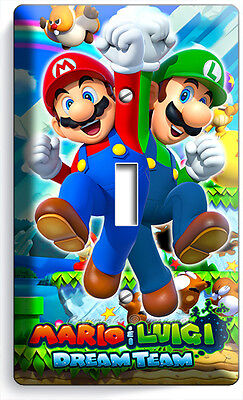Mario And Luigi Decorations (SUPER MARIO AND LUIGI BROS SINGLE LIGHT SWITCH WALL PLATE COVER GAME ROOM)