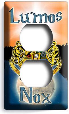 HARRY POTTER LUMOS NOX HOGWARTS COAT OF ARMS OUTLET WALL PLATES NERD ROOM - Nerd Room Decor