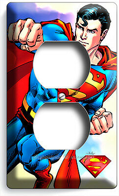 (SUPERMAN SUPERHERO COMICS DUPLEX OUTLET WALL PLATE COVER BOYS BEDROOM HOME DECOR)