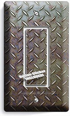 Gfci Metal Wall Plate - INDUSTRIAL DIAMOND METAL RUST SINGLE GFCI LIGHT SWITCH WALL PLATE MAN CAVE DECOR