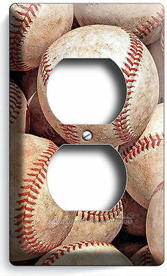 - WORN OUT OLD RUSTIC BASEBALL BALLS ELECTRICAL DUPLEX OUTLET PLATE BOY ROOM DECOR
