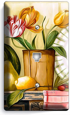 Country Kitchen Wall Phone - RUSTIC COUNTRY KITCHEN TULIPS FLOWERS POT PHONE TELEPHONE WALL PLATE COVER DECOR