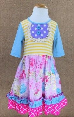 NEW Girls Boutique Floral 3/4 Sleeve Pink Ruffle Easter Dress 2T
