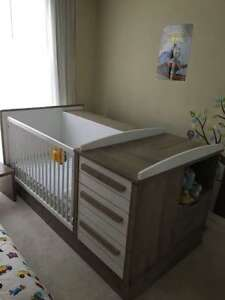 Convertible Crib to Bed and Bedroom Set and Wardrobe