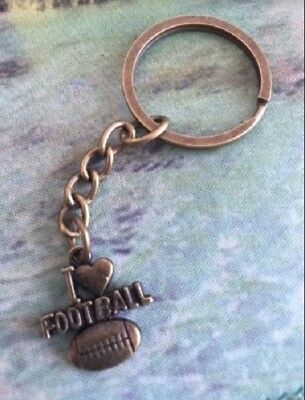 l Love Football Bronze keychain with Football Pendant Sport Keyring Gift