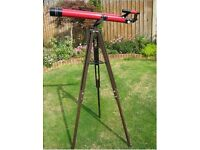 Tasco 320 x 60 mm 49TE telescope and Adjustable height tripod, Red,