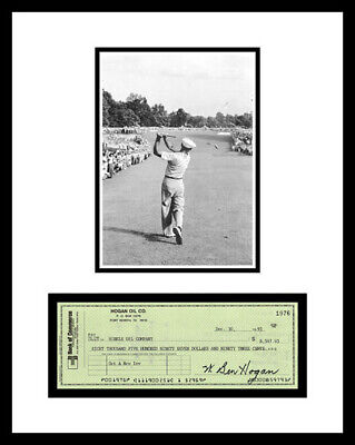 BEN HOGAN *SIGNED BANK CHECK* & PHOTO DISPLAY *ONE IRON* GOLFER
