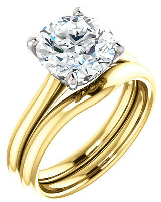 GIA 2.50 ct Round Diamond Engagement Solitaire 14k Two-Tone Gold Ring G SI1