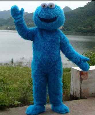 Adult Size Sesame Street Blue Cookie Monster Mascot Costume Party Dress Cosplay