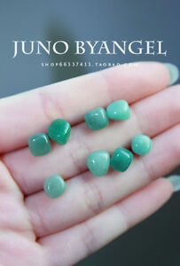 Natural cute green jade stone earrings silver stud A Pair