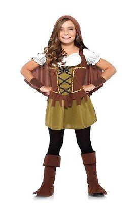 Robin Hood Mädchen Kostüm Gr. M 8-10 Renaissance Cosplay Kinder Halloween Neu