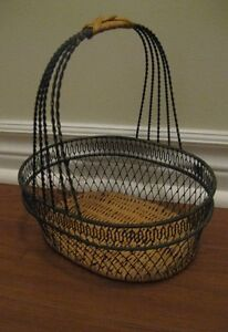 METAL & WOOD WRAPPING HANDLED BASKET-EXCELLENT CONDITION