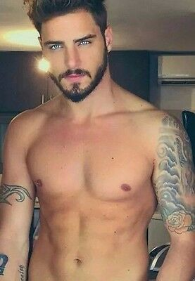 Shirtless Male Beautiful Eyes Facial Hair Beard Tattoos Hunk Guy PHOTO 4X6 (Guys Facial Hair)