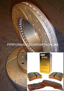 DRILLED-SLOTTED-PADS-Commodore-VT-VU-VX-VY-VZ-V6-V8-SS-Front-Disc-Brake-Rotors