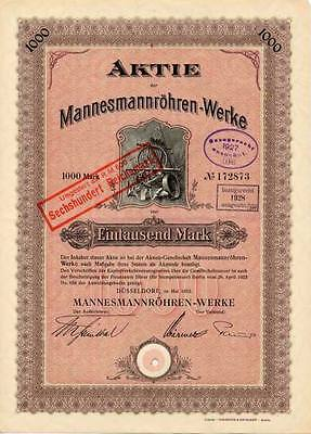 Mannesmann Röhren-Werke Düsseldorf hist. Aktie 1922 Remscheid Mülheim Salzgitter