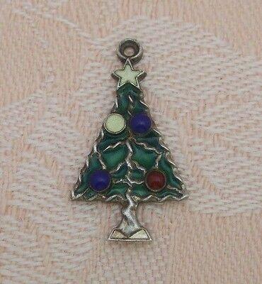 Christmas Tree Star Charm - Vintage CHRISTMAS TREE With STAR & ORNAMENTS Sterling Silver ENAMEL Charm